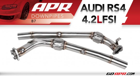 apr presents the b7 rs4 high flow downpipe exhaust system. Black Bedroom Furniture Sets. Home Design Ideas
